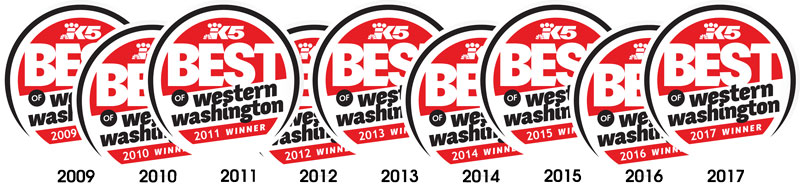 Voted King5 Best in Western Washington 2009-2017!